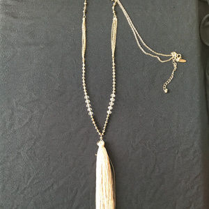 Natasha Tassel Necklace with Bugle Beads